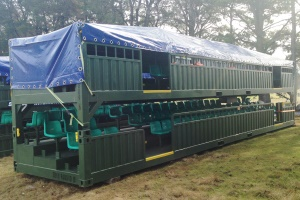 Cover available to protect portable grandstands during storage